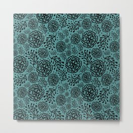 Flowery black Metal Print