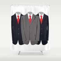 suit Shower Curtains featuring Navy Suit by Anderssen Creative Imaging