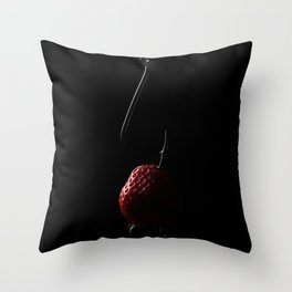 The Fishhook and the Strawberry Throw Pillow