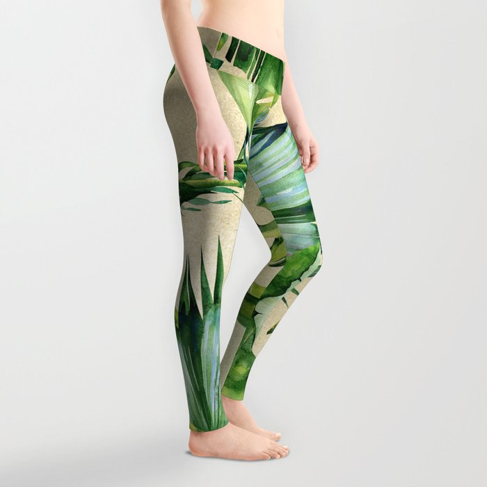 Green Tropics Leaves on Linen Leggings