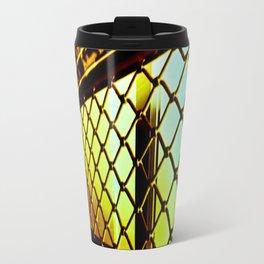Abstract Cross Processed Sea Foam Green Metal Gate Store Shutter Travel Mug