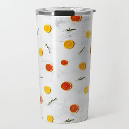 White, Red and Yellow Citrus Fruits on Marble Floor Artwork Abstract Travel Mug