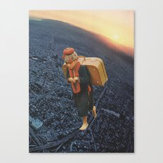little boy with a big burden Canvas Print