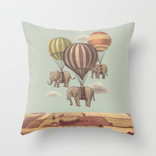 Flight of the Elephants - mint option Throw Pillow