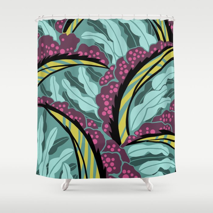 BALINESIA TAMANGO MORNING Art Deco Tropical Shower Curtain