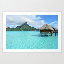 Luxury over-water resort with view on Bora Bora island Art Print