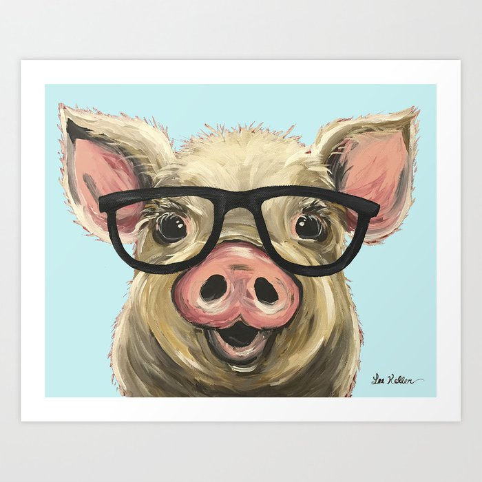 Cute Pig Painting Farm Animal With Glasses Art Print By Leekeller