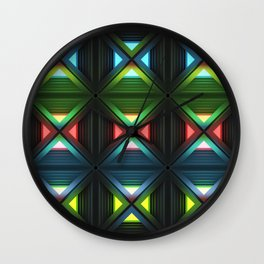 Modern background with light effects of geometric ornament. Wall Clock