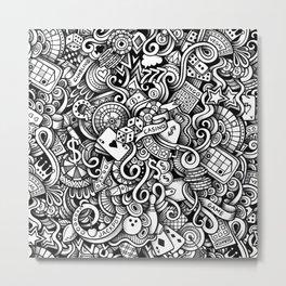casino doodle 1 Metal Print