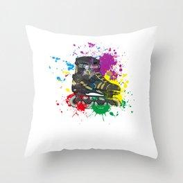 Colored roller skate gift for skater Throw Pillow