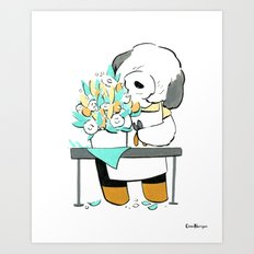 English Sheepdog Florist (Dogs with Jobs series) Art Print