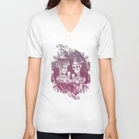 wedding V-neck T-shirts featuring Skeleton wedding by diggy