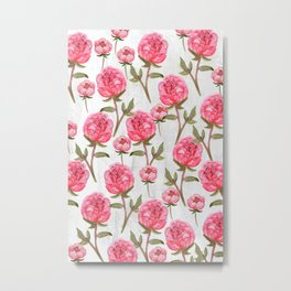 Pink Peonies On White Chalkboard Metal Print