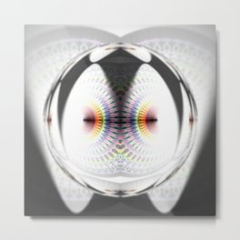 Fuzzy Rainbow Drop Mandala Metal Print