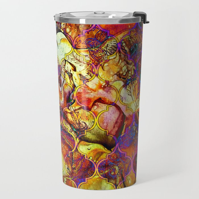 V15 Lovely Traditional Moroccan Pattern Colored Design Waves. Travel Mug