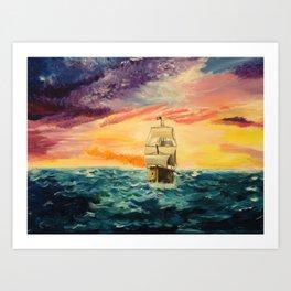 Pirating by Sunset Art Print