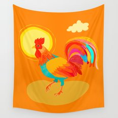 Orange Rooster Wall Tapestry
