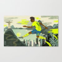 neymar Canvas Prints featuring Neymar by Noah MacMillan