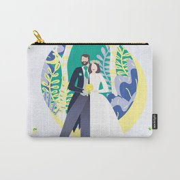 happy cute couple together wedding autumn spring groom and bride happy II Carry-All Pouch