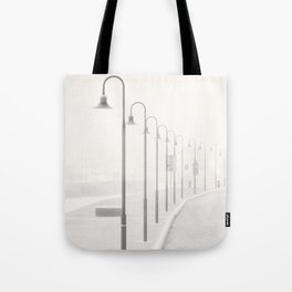 The street lamps in the dock of Senigallia, Italy Tote Bag