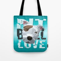 pit bull Tote Bags featuring Pit Bull by Benjamin Ring
