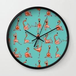 Flamingo Yoga Wall Clock