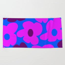Large Pink and Purple Retro Flowers Blue Background #decor #society6 #buyart Beach Towel