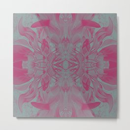 Feminine Devine in Fuchsia Pink and Powder Mint Metal Print