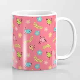 Doodle Birds - Spring Pattern in Pink Coffee Mug