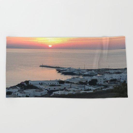 Sunset, Myconos Island, Greece Beach Towel