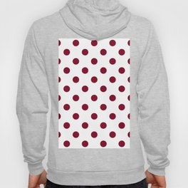 Polka Dots - Burgundy Red on White Hoody