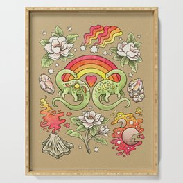 Love You Till Extinction | Watercolor Dinosaur Rainbow Art Serving Tray