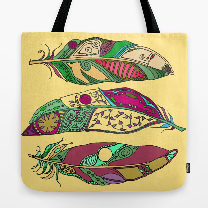 Bohemian Feathers On Honey Yellow Hand Drawn Illustration Tote Bag By Laurabethlove Society6