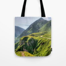 Mountains, green, gigantic, steep and rolling Tote Bag