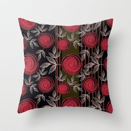 Cute red roses on striped background. Throw Pillow