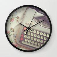 typewriter Wall Clocks featuring Typewriter by Beth Retro