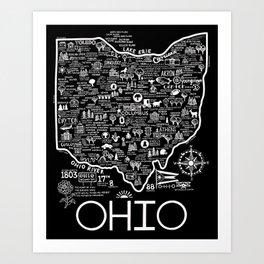 Map of Ohio Art Print