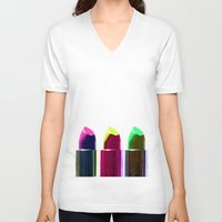 lipstick V-neck T-shirts featuring Lipstick  by aldarwish