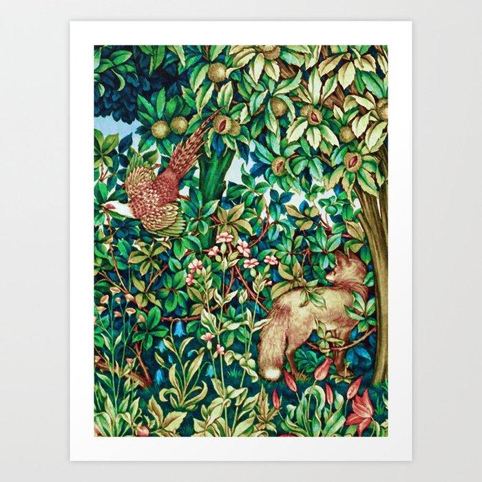 William Morris Fox and Pheasant Tapestry Print Kunstdrucke