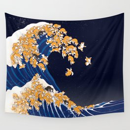 Shiba Inu The Great Wave in Night Wall Tapestry