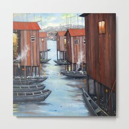 Lagos Makoko Wooden Houses on Water Art  Metal Print