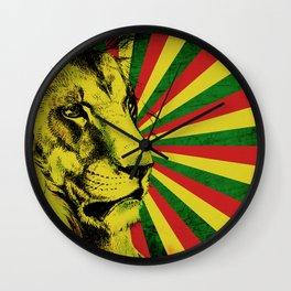 Rasta Lion / Rastafarian Red Gold Green Lion Wall Clock