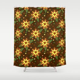 Beautiful Flowers with Heart Pistil Pattern Shower Curtain