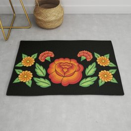 Mexican Folk Pattern – Tehuantepec Huipil flower embroidery Rug