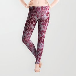 Vintage Antique Pink-Magenta Wallpaper Pattern Leggings