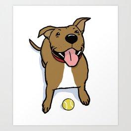 Big Smiley Brown Dog with Tennis Ball Art Print