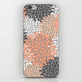 Floral Pattern, Coral, Gray, White iPhone Skin