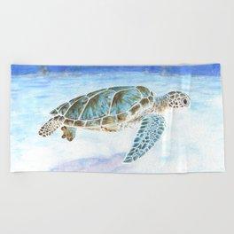 Sea turtle underwater Beach Towel