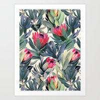 green Art Prints featuring Painted Protea Pattern by micklyn