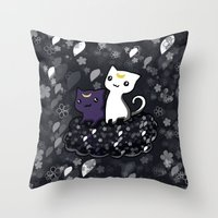sailormoon Throw Pillows featuring Sailormoon Luna and Artemis by Mayying